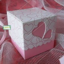 5 Pochettes Cadeaux coeurs rose à assembler pour vos emballages.