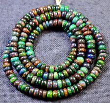 "32-12 Ethiopian Opal Black Gemstone Rondelle Beads 60Ct 4.0-4.5mm 21"" Necklace $"