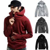 Men's Turtle Neck Hoodie Warm Hooded Sweatshirt Coat Jacket Sweater Tops Outwear