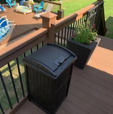 outdoor trash suncast garbage patio can deck waste lid java bin resin