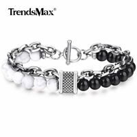 """14mm 8/9/10"""" White Turquoise Stone Beads Bracelet Stainless Steel Link Jewelry"""