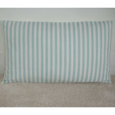 "16""x12"" Oblong Bolster Cushion Cover Stripes Duck Egg Blue and Cream Striped NEW"