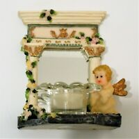 Angel Candle Holder Figurine Kneeling Over Wishing Well With Mirror Background