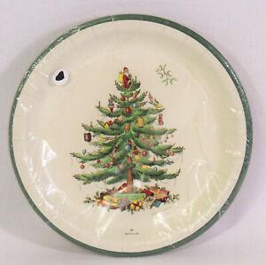 "Vtg Spode Christmas Tree 8 Count Paper Dinner Plates 10.5"" By Hallmark Sealed"