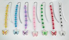 Silver Plated Bookmark with Enamel & Rhinestone Butterfly Charm Pendant + Beads