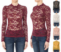 S M L Women's All Over Sheer Lace Long Puff Sleeve Top Stretch Solid Mock Neck