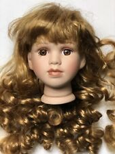 "4"" Vintage Doll Head Red Hair Wig Brown Eyes Porcelain Parts For 16-17"" Dolls"