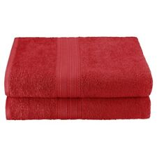 Set of 2 Cranberry Ring Spun Combed Cotton Soft and Absorbent Bath Sheet Towels