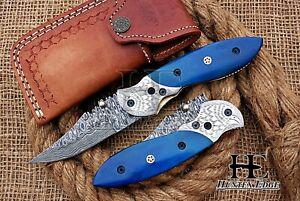 HUNTEX Custom Handmade Damascus 95mm Long CamelBone Hunting Folding Pocket Knife