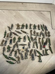 Vintage Lead / Metal Job Lot Soldiers Army Figures Britains ? Movable Limbs Ww1