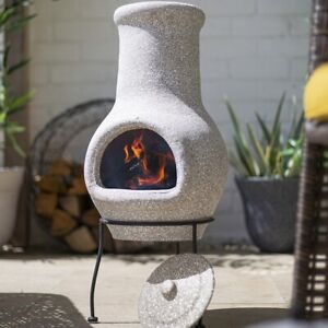 La Hacienda Clay Chimenea Grey BBQ Log Burner Fire Pit Garden Patio Heater Stove