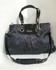 COACH F15510 ASHLEY Signature Black Convertible Tote Satchel Shoulder Purse Bag