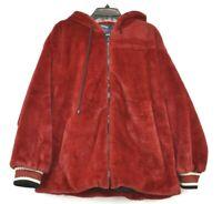 Rachel Rachel Roy Womens Red Lined Front Zip Ruby Drawstring Hooded Fur Coat XL
