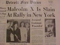 VINTAGE NEWSPAPER HEADLINE ~MALCOLM X SHOT MURDERED KILLED NEW YORK GUNMAN 1965