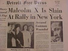 VINTAGE NEWSPAPER HEADLINE ~CRIME MALCOLM X DEAD NEW YORK CITY GUNMAN GUN SHOT~