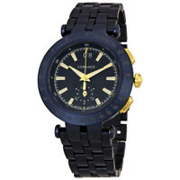 Versace V-Race Black Dial Blue Ion-plated Mens Watch VAH05 0016