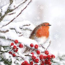20 Servietten 33x33 cm Vogel  Schnee Winter Tier Advent Winterwald Schneelandsch