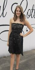 Dessy Black Lace Prom Homecoming Bridesmaid Dress Strapless Size 8 Bow Topaz