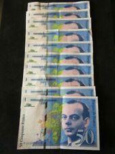 Billets de la banque française 50 francs sur St Exupéry