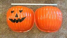 Vintage Halloween Pumpkin Outdoor Lamp Post Cover Blow Mold Large Orange Plastic