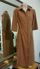 Picnic Dress.3/4 Length. Sz8.Suede feel fabric.Button up front.Matching belt.VGC