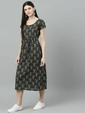 Radha's Elegante Indio Gris Estampado Midi Vestido