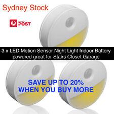 3 x LED Motion Sensor Night Light Indoor Battery powered Stairs Closet Garage