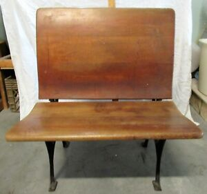 Vintage Child's School Desk With Inkwell Wood & Seat Fold