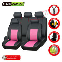 Premium Universal Car Seat Covers Pink Leather For Girls Women Split Rear 60/40