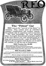 REO c1915 - REO Ad - REO The Fittest Car - Touring & Runabout Prices