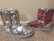UGG AUSTRALIA SPARKLES BOOTS WOMENS CLASSIC SHORT SEQUIN REVERSIBLE SILVER  7
