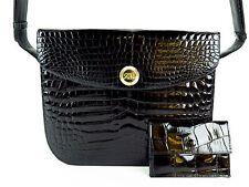 Authentic AR Genuine Crocodile Skin Hand Bag Black West-Germany W/Coin purse