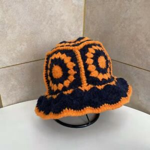 Fisherman Hat Female Autumn and Winter Hand-Crocheted Flowers Knitted Pot Hat
