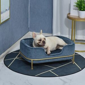 Luxury Small Pet Bed Elevated Velvet Sofa Puppy Cat Soft Cushion Couch