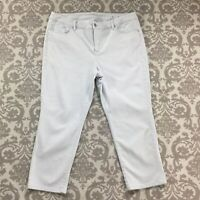 Chicos Womens Pants size 14 Light Blue Slimming Girlfriend Cropped Capri Stretch