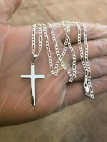 925 Sterling Silver Cross 24'Necklace Pendant Men Women