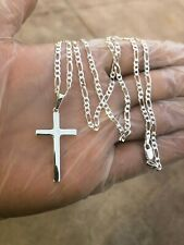 "925 Sterling Silver Cross 20""Necklace Pendant Men Women"