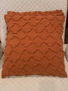 "2pc Set Large 20"" x 20"" Rustic Rust Orange Boho Fringe Throw Pillows New Ready!"