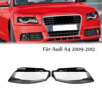 Scheinwerfer Glas für Audi A4 2009-2012 Facelift Linsen Streuscheiben Abdeckung