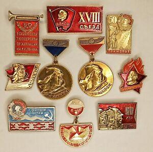 SOVIET BADGE PADS KOMSOMOL PIONEERIA USSR VINTAGE LOT 10 PCS