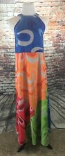 ZAFUL - Women's MAXI Halter Dress - Bright Colors - Flowing - SMALL - Blue Green