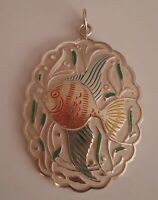 Lovely Silver Tone large angel fish Enamel Pendant