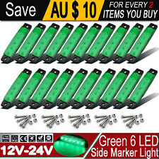 20x Waterproof Green 6 LED Clearance Lamps Marker Trailer Truck Van Lights 12V