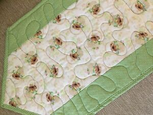 Handcrafted-Quilted Table Runner - Easter Print - Bunnies, Bunnies with Green