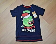 BOYS BNWT AGE 4 5 6 YEARS CHRISTMAS T-SHIRT TOP MONSTER BRUSSEL SPROUTS