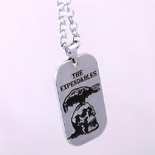 Plaque militaire-gravure corbeau/tête de mort-The expendables-PENDENTIF-chaîne