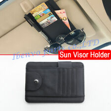 Black PU Leather Car Visor Handy Pen Holder Card Wallet Glasses Catcher Storage