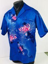 Vtg Hawaii Nei Honolulu Ocean Blue Pink Chrysanthemums Hawaiian Shirt Mens M