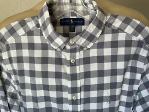 RALPH LAUREN Men's Grey & White Checked Long Sleeve Dress Shirt Size Small