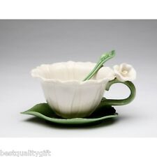 SET OF 2 COSMOS WHITE DAISY SHAPE FLOWER 6 PC CUP,SAUCER,SPOON+BOX-10397